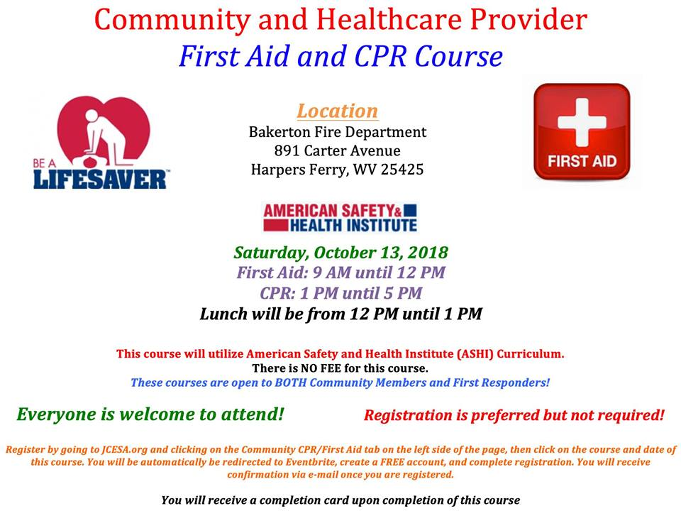 Community Cprfirst Aid Jefferson County Commission Wv